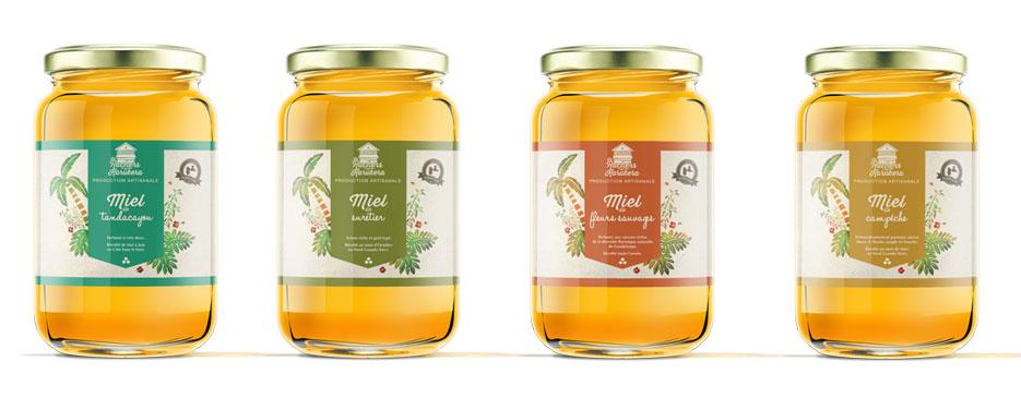 Les ruchers de karukera, création de logotype création d'étiquette