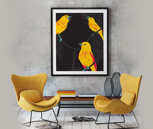 illustration oiseaux caraibe titine jaune